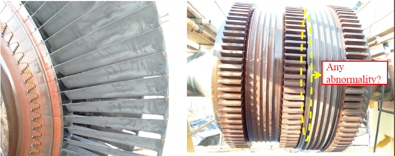 Turbine Rotor Blades inspection,  Shaft Coupling, Shell, Rotor Dismantling,